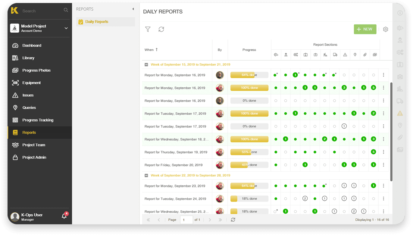 All your reports in one place with K-Ops